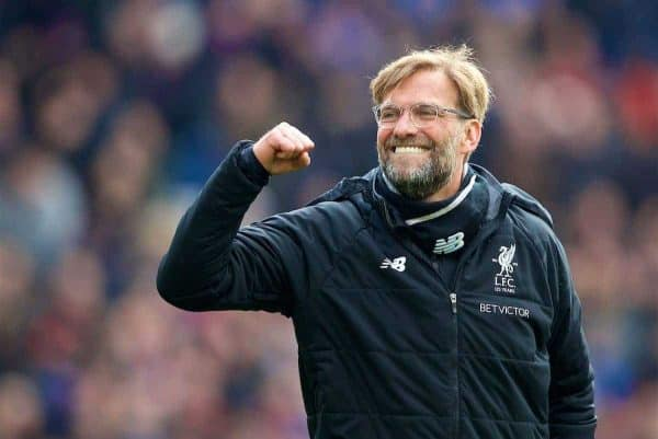 LONDON, ENGLAND - Saturday, March 31, 2018: Liverpool's manager Jürgen Klopp celebrates after the 2-1 victory during the FA Premier League match between Crystal Palace FC and Liverpool FC at Selhurst Park. (Pic by Dave Shopland/Propaganda)