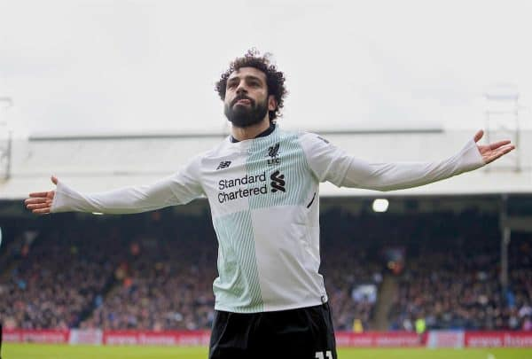 LONDON, ENGLAND - Saturday, March 31, 2018: Liverpool's Mohamed Salah celebrates scoring the winning second goal during the FA Premier League match between Crystal Palace FC and Liverpool FC at Selhurst Park. (Pic by Dave Shopland/Propaganda)