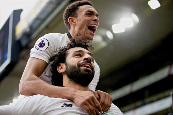 LONDON, ENGLAND - Saturday, March 31, 2018: Liverpool's Mohamed Salah celebrates scoring the winning second goal with team-mate Trent Alexander-Arnold during the FA Premier League match between Crystal Palace FC and Liverpool FC at Selhurst Park. (Pic by Dave Shopland/Propaganda)
