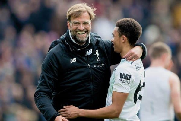 LONDON, ENGLAND - Saturday, March 31, 2018: Liverpool's manager Jürgen Klopp celebrates with Trent Alexander-Arnold after the 2-1 victory during the FA Premier League match between Crystal Palace FC and Liverpool FC at Selhurst Park. (Pic by Dave Shopland/Propaganda)