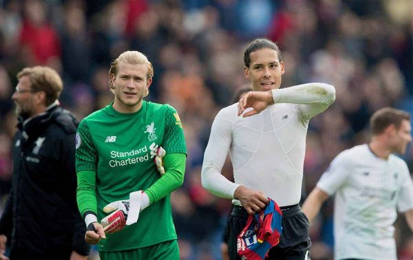 LONDON, ENGLAND - Saturday, March 31, 2018: Liverpool's goalkeeper Loris Karius and Virgil van Dijk after the 2-1 victory over Crystal Palace during the FA Premier League match between Crystal Palace FC and Liverpool FC at Selhurst Park. (Pic by Dave Shopland/Propaganda)