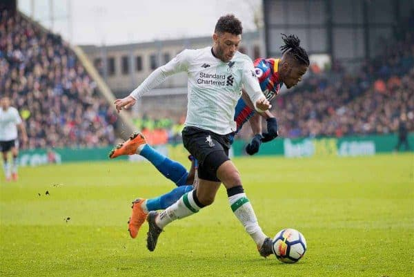 LONDON, ENGLAND - Saturday, March 31, 2018: Liverpool's Alex Oxlade-Chamberlain during the FA Premier League match between Crystal Palace FC and Liverpool FC at Selhurst Park. (Pic by Dave Shopland/Propaganda)