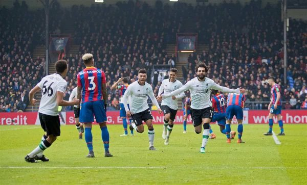 LONDON, ENGLAND - Saturday, March 31, 2018: Liverpool's Mohamed Salah celebrates scoring the second goal during the FA Premier League match between Crystal Palace FC and Liverpool FC at Selhurst Park. (Pic by Dave Shopland/Propaganda)