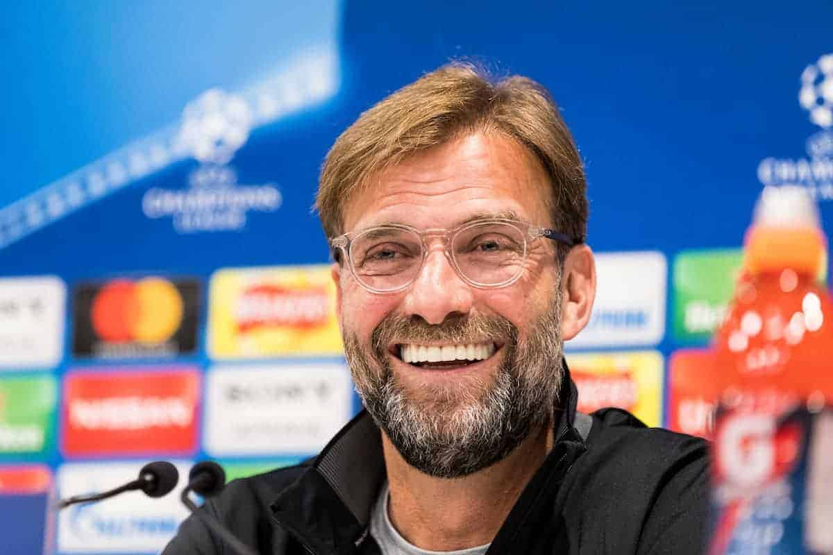 LIVERPOOL, ENGLAND - Tuesday, April 3, 2018: Liverpool's manager Jürgen Klopp during a press conference ahead of the UEFA Champions League Quarter-Final 1st Leg match between Liverpool FC and Manchester City FC at Anfield. (Pic by Paul Greenwood/Propaganda)