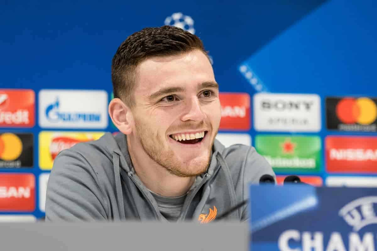 LIVERPOOL, ENGLAND - Tuesday, April 3, 2018: Liverpool's Andy Robertson during a press conference ahead of the UEFA Champions League Quarter-Final 1st Leg match between Liverpool FC and Manchester City FC at Anfield. (Pic by Paul Greenwood/Propaganda)