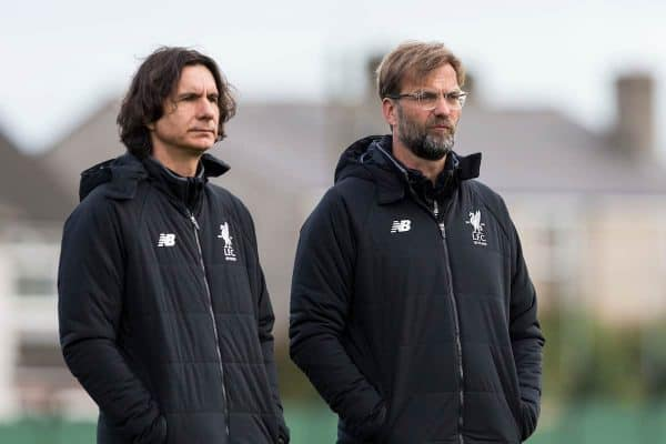 LIVERPOOL, ENGLAND - Tuesday, April 3, 2018: Liverpool's manager J¸rgen Klopp and assistant éeljko Buva? during a training session at Melwood Training Ground ahead of the UEFA Champions League Quarter-Final 1st Leg match between Liverpool FC and Manchester City FC. (Pic by Paul Greenwood/Propaganda)