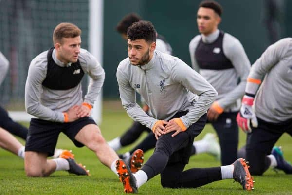 LIVERPOOL, ENGLAND - Tuesday, April 3, 2018: Liverpool's Alex Oxlade-Chamberlain during a training session at Melwood Training Ground ahead of the UEFA Champions League Quarter-Final 1st Leg match between Liverpool FC and Manchester City FC. (Pic by Paul Greenwood/Propaganda)