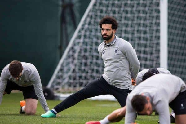 LIVERPOOL, ENGLAND - Tuesday, April 3, 2018: Liverpool's Mohamed Salah during a training session at Melwood Training Ground ahead of the UEFA Champions League Quarter-Final 1st Leg match between Liverpool FC and Manchester City FC. (Pic by Paul Greenwood/Propaganda)