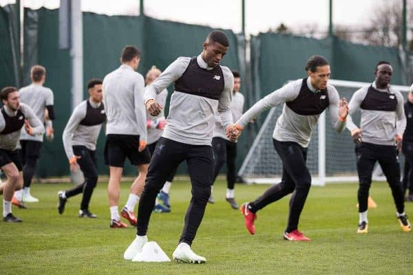 LIVERPOOL, ENGLAND - Tuesday, April 3, 2018: Liverpool's Georginio Wijnaldum during a training session at Melwood Training Ground ahead of the UEFA Champions League Quarter-Final 1st Leg match between Liverpool FC and Manchester City FC. (Pic by Paul Greenwood/Propaganda)