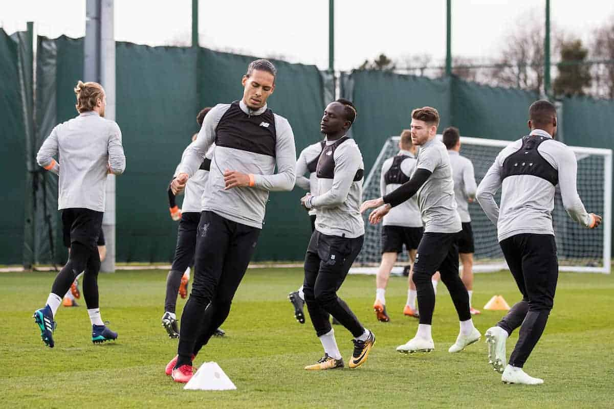 LIVERPOOL, ENGLAND - Tuesday, April 3, 2018: Liverpool's Virgil van Dijk during a training session at Melwood Training Ground ahead of the UEFA Champions League Quarter-Final 1st Leg match between Liverpool FC and Manchester City FC. (Pic by Paul Greenwood/Propaganda) Sadio Mane, Alberto Moreno