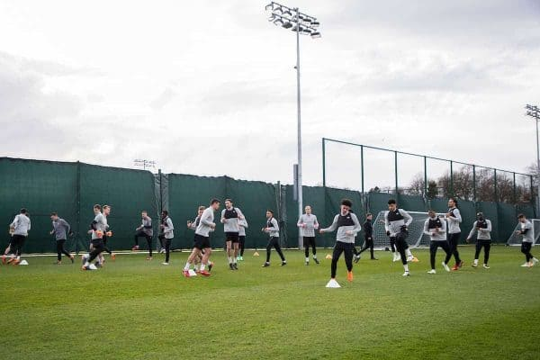 LIVERPOOL, ENGLAND - Tuesday, April 3, 2018: A general view of Liverpool's players during a training session at Melwood Training Ground ahead of the UEFA Champions League Quarter-Final 1st Leg match between Liverpool FC and Manchester City FC. (Pic by Paul Greenwood/Propaganda)