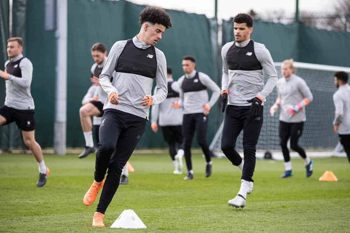 LIVERPOOL, ENGLAND - Tuesday, April 3, 2018: Liverpool's Curtis Jones during a training session at Melwood Training Ground ahead of the UEFA Champions League Quarter-Final 1st Leg match between Liverpool FC and Manchester City FC. (Pic by Paul Greenwood/Propaganda)