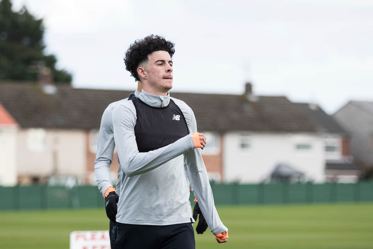 Liverpool's Curtis Jones during a training session at Melwood Training Ground ahead of the UEFA Champions League Quarter-Final 1st Leg match between Liverpool FC and Manchester City FC. (Pic by Paul Greenwood/Propaganda)