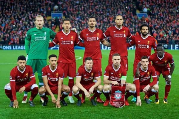 LIVERPOOL, ENGLAND - Wednesday, April 4, 2018: Liverpool's players line-up for a team group photograph before the UEFA Champions League Quarter-Final 1st Leg match between Liverpool FC and Manchester City FC at Anfield. Back row L-R: goalkeeper Loris Karius, Roberto Firmino, Dejan Lovren, Virgil van Dijk, Mohamed Salah. Front row L-R: Alex Oxlade-Chamberlain, Trent Alexander-Arnold, James Milner, captain Jordan Henderson, Andy Robertson, Sadio Mane. (Pic by David Rawcliffe/Propaganda)