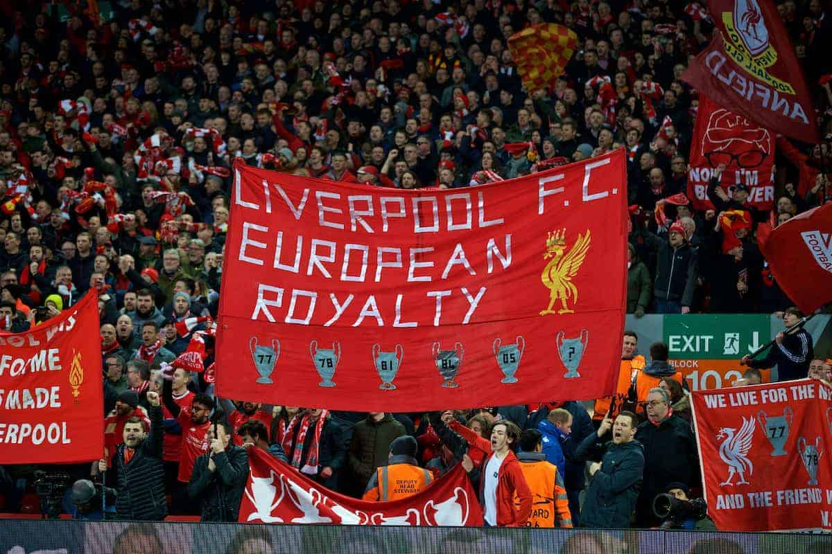 LIVERPOOL, ENGLAND - Wednesday, April 4, 2018: Liverpool's supporters before the UEFA Champions League Quarter-Final 1st Leg match between Liverpool FC and Manchester City FC at Anfield. (Pic by David Rawcliffe/Propaganda)