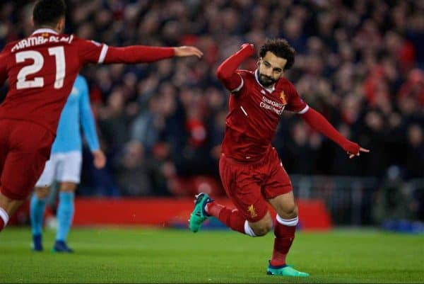 LIVERPOOL, ENGLAND - Wednesday, April 4, 2018: Liverpool's Mohamed Salah celebrates scoring the first goal during the UEFA Champions League Quarter-Final 1st Leg match between Liverpool FC and Manchester City FC at Anfield. (Pic by David Rawcliffe/Propaganda)