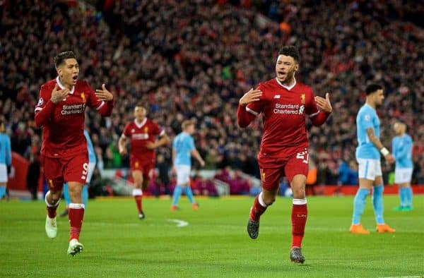 LIVERPOOL, ENGLAND - Wednesday, April 4, 2018: Liverpool's Alex Oxlade-Chamberlain celebrates scoring the second goal during the UEFA Champions League Quarter-Final 1st Leg match between Liverpool FC and Manchester City FC at Anfield. (Pic by David Rawcliffe/Propaganda)c