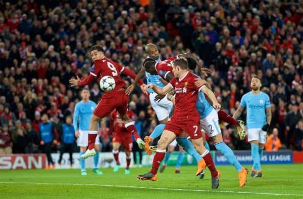 LIVERPOOL, ENGLAND - Wednesday, April 4, 2018: Liverpool's Sadio Mane scores the third goal during the UEFA Champions League Quarter-Final 1st Leg match between Liverpool FC and Manchester City FC at Anfield. (Pic by David Rawcliffe/Propaganda)