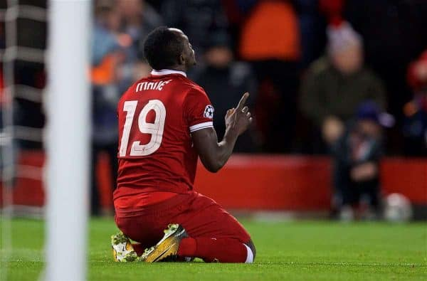 Liverpool's Sadio Mane celebrates scoring the third goal during the UEFA Champions League Quarter-Final 1st Leg match between Liverpool FC and Manchester City FC at Anfield. (Pic by David Rawcliffe/Propaganda)