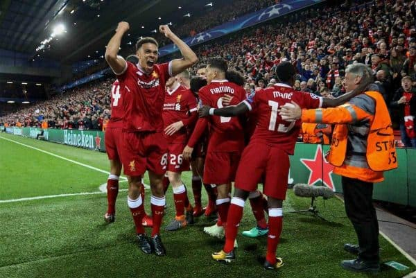 LIVERPOOL, ENGLAND - Wednesday, April 4, 2018: Liverpool's Trent Alexander-Arnold celebrates as Alex Oxlade-Chamberlain scores the third goal during the UEFA Champions League Quarter-Final 1st Leg match between Liverpool FC and Manchester City FC at Anfield. (Pic by David Rawcliffe/Propaganda)