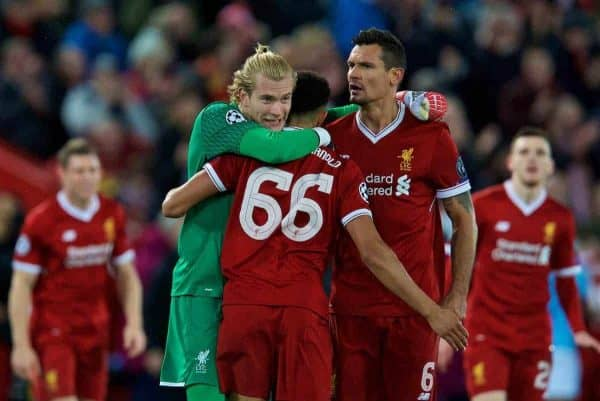 LIVERPOOL, ENGLAND - Wednesday, April 4, 2018: Liverpool's goalkeeper Loris Karius, Trent Alexander-Arnold and Dejan Lovren celebrate the 3-0 victory after the UEFA Champions League Quarter-Final 1st Leg match between Liverpool FC and Manchester City FC at Anfield. (Pic by David Rawcliffe/Propaganda)
