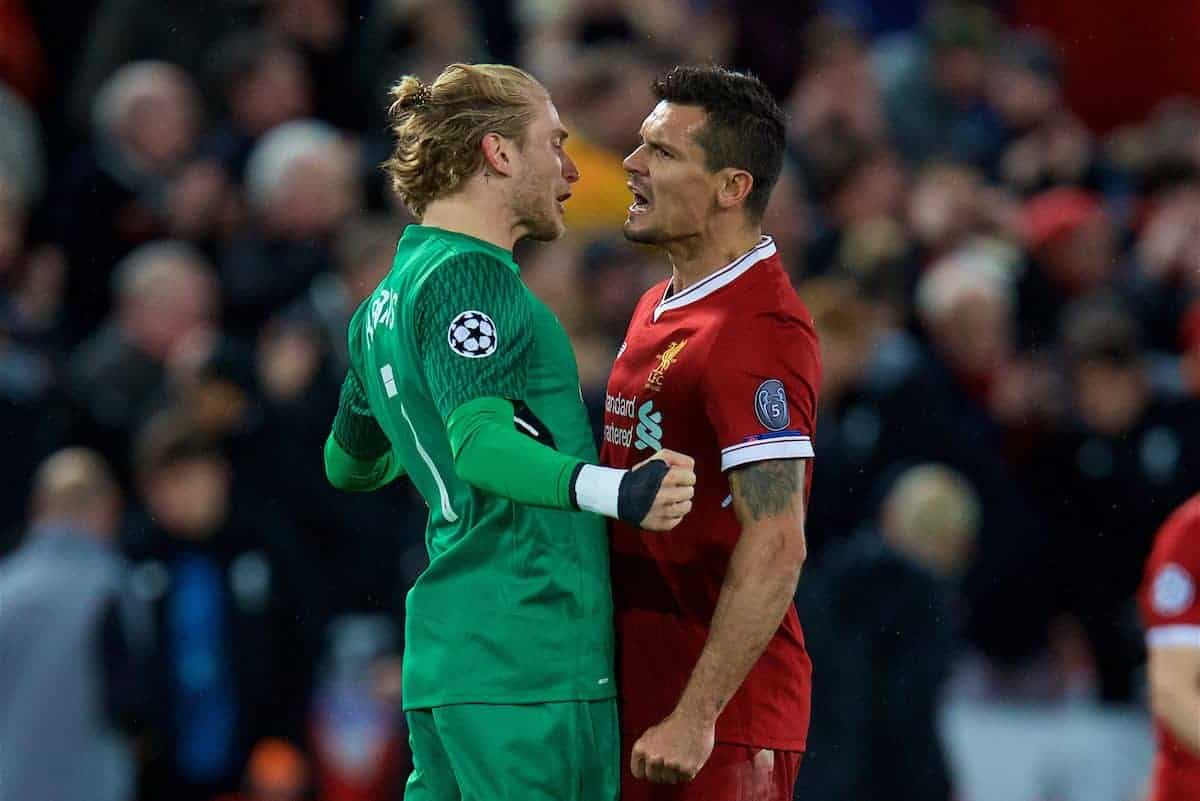 LIVERPOOL, ENGLAND - Wednesday, April 4, 2018: Liverpool's goalkeeper Loris Karius and Dejan Lovren celebrate the 3-0 victory after the UEFA Champions League Quarter-Final 1st Leg match between Liverpool FC and Manchester City FC at Anfield. (Pic by David Rawcliffe/Propaganda)