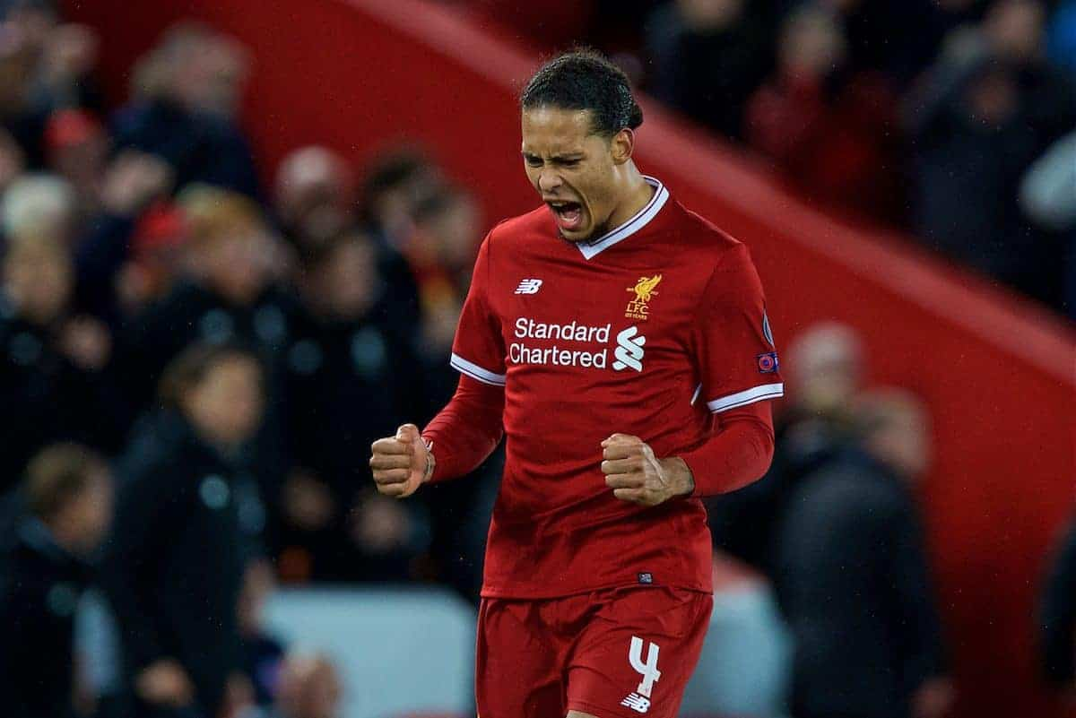LIVERPOOL, ENGLAND - Wednesday, April 4, 2018: Liverpool's Virgil van Dijk celebrates the 3-0 victory after the UEFA Champions League Quarter-Final 1st Leg match between Liverpool FC and Manchester City FC at Anfield. (Pic by David Rawcliffe/Propaganda)