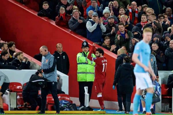 LIVERPOOL, ENGLAND - Wednesday, April 4, 2018: Liverpool's Mohamed Salah goes off injured during the UEFA Champions League Quarter-Final 1st Leg match between Liverpool FC and Manchester City FC at Anfield. (Pic by David Rawcliffe/Propaganda)