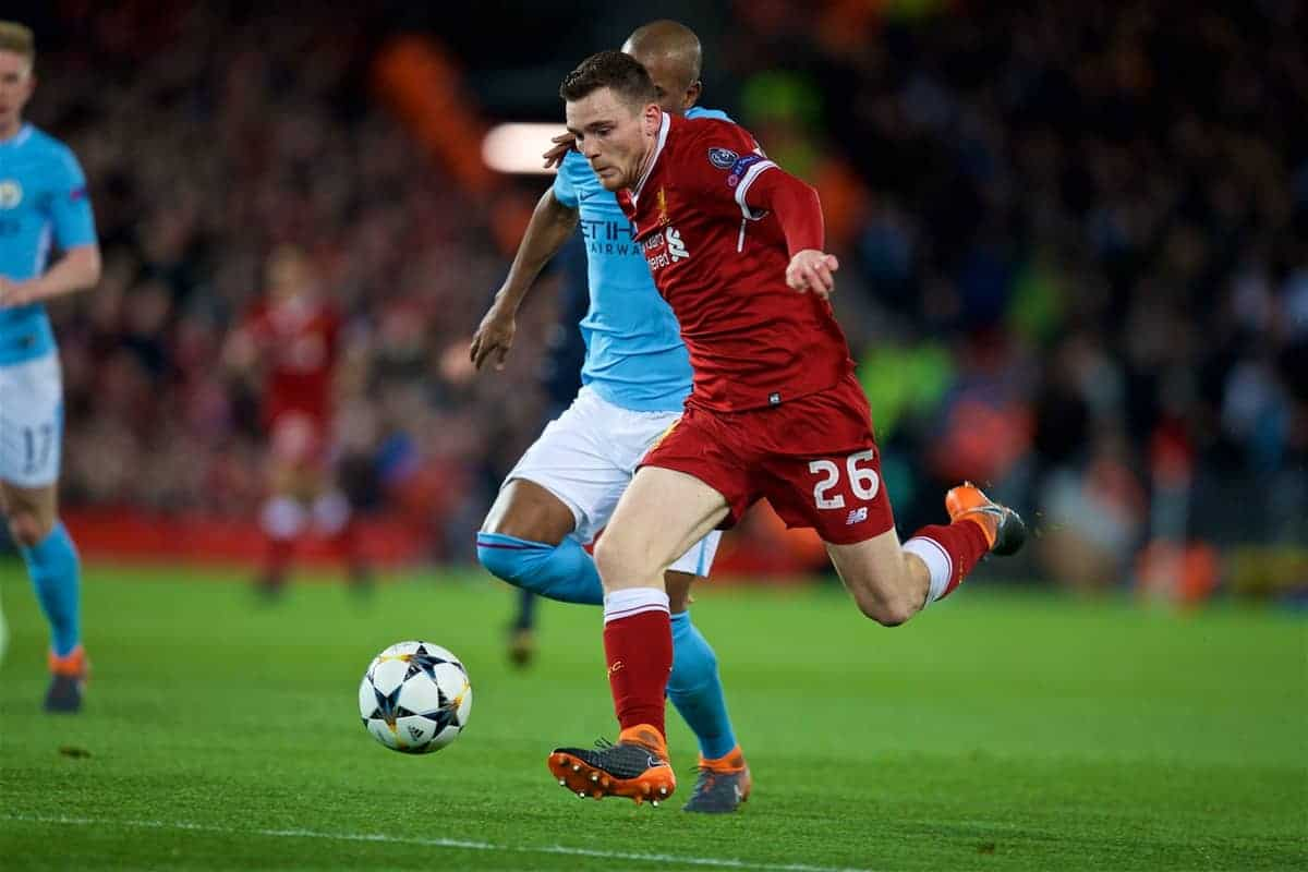 LIVERPOOL, ENGLAND - Wednesday, April 4, 2018: Liverpool's Andy Robertson during the UEFA Champions League Quarter-Final 1st Leg match between Liverpool FC and Manchester City FC at Anfield. (Pic by David Rawcliffe/Propaganda)