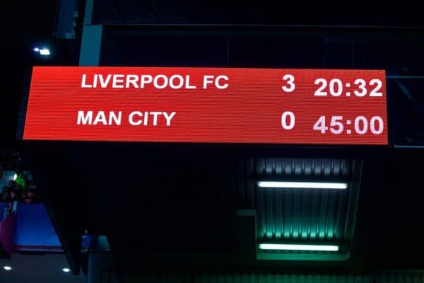 LIVERPOOL, ENGLAND - Wednesday, April 4, 2018: Liverpool's scoreboard records the Reds winning 3-0 at half-time during the UEFA Champions League Quarter-Final 1st Leg match between Liverpool FC and Manchester City FC at Anfield. (Pic by David Rawcliffe/Propaganda)