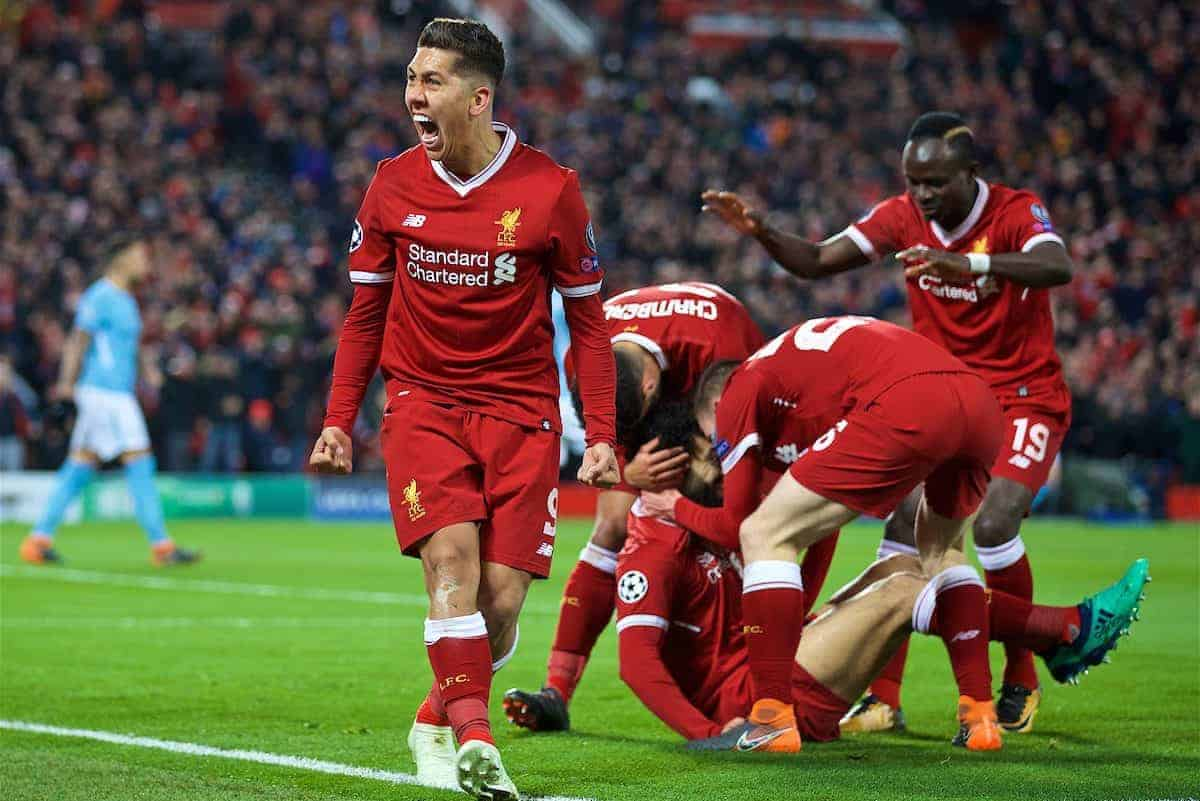 LIVERPOOL, ENGLAND - Wednesday, April 4, 2018: Liverpool's Roberto Firmino celebrates the first goal scored by Mohamed Salah during the UEFA Champions League Quarter-Final 1st Leg match between Liverpool FC and Manchester City FC at Anfield. (Pic by David Rawcliffe/Propaganda)