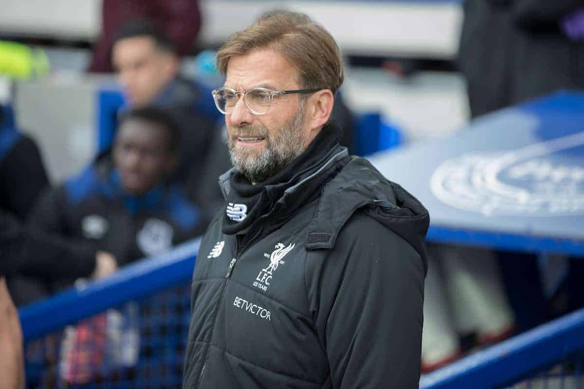 LIVERPOOL, ENGLAND - Saturday, April 7, 2018: Liverpool manager Jurgen Klopp before the FA Premier League match between Everton and Liverpool, the 231st Merseyside Derby, at Goodison Park. (Pic by Jason Roberts/Propaganda)