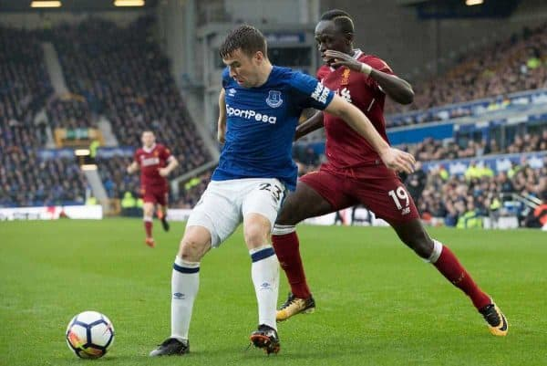 LIVERPOOL, ENGLAND - Saturday, April 7, 2018: Liverpools Sadio Mane and Evertons Seamus Coleman during the FA Premier League match between Everton and Liverpool, the 231st Merseyside Derby, at Goodison Park. (Pic by Jason Roberts/Propaganda)