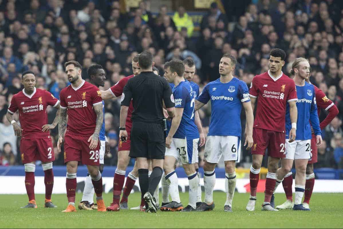 LIVERPOOL, ENGLAND - Saturday, April 7, 2018: Liverpools Danny Ings and Jordan Henderson talks to the referee Michael Oliverduring the FA Premier League match between Everton and Liverpool, the 231st Merseyside Derby, at Goodison Park. (Pic by Jason Roberts/Propaganda)