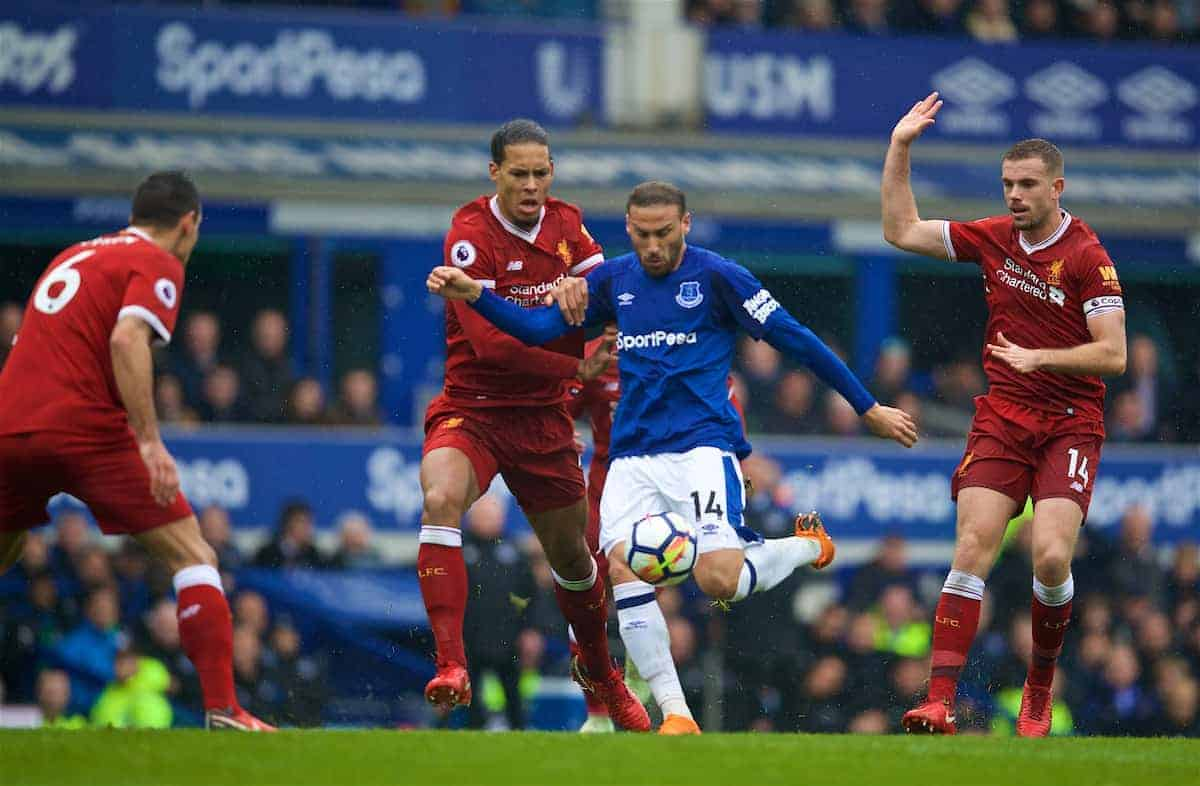 LIVERPOOL, ENGLAND - Saturday, April 7, 2018: Liverpool's Virgil van Dijk and Everton's Cenk Tosun during the FA Premier League match between Everton and Liverpool, the 231st Merseyside Derby, at Goodison Park. (Pic by David Rawcliffe/Propaganda)