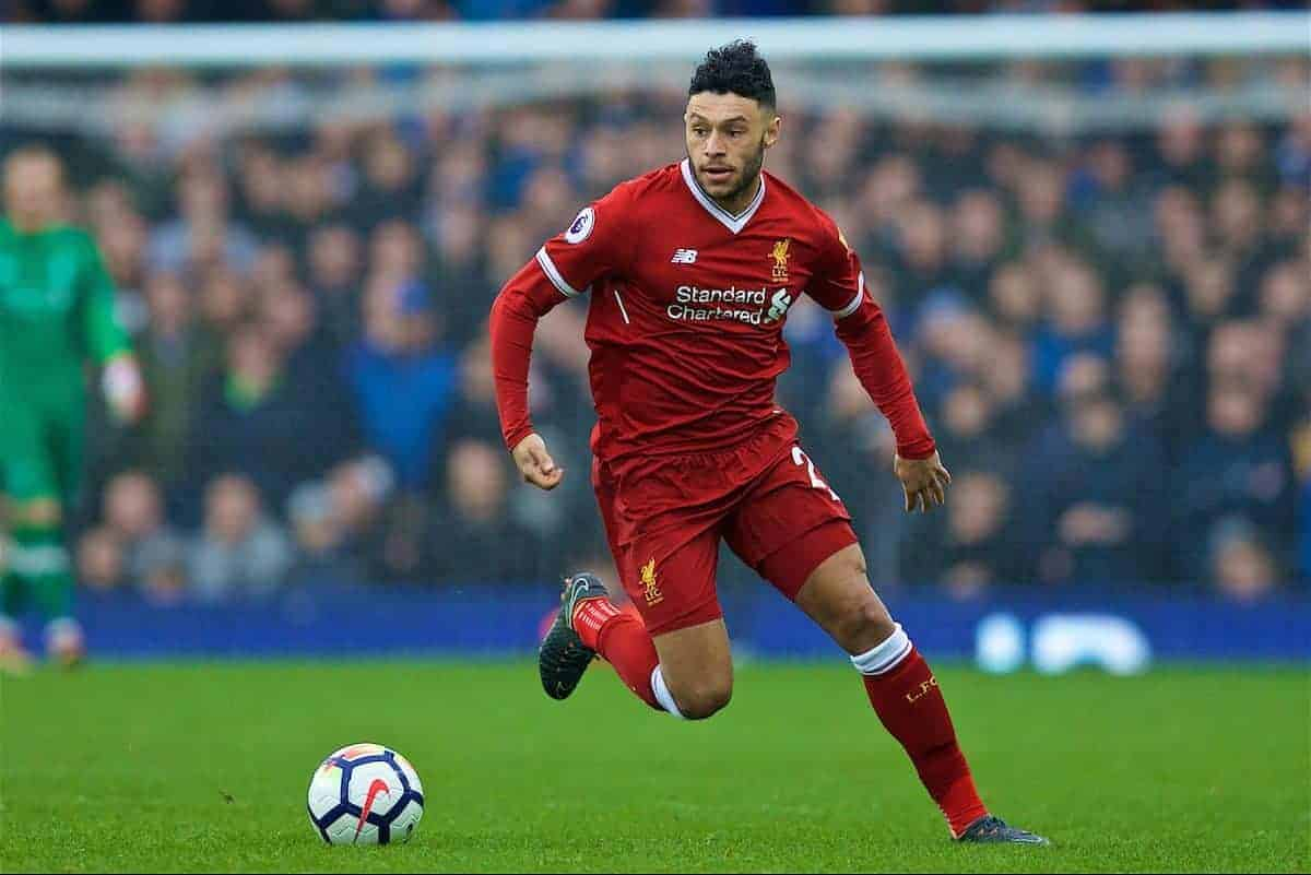 LIVERPOOL, ENGLAND - Saturday, April 7, 2018: Liverpool's Alex Oxlade-Chamberlain during the FA Premier League match between Everton and Liverpool, the 231st Merseyside Derby, at Goodison Park. (Pic by David Rawcliffe/Propaganda)