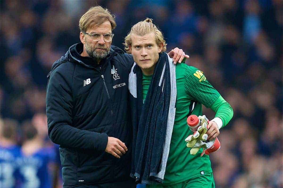 LIVERPOOL, ENGLAND - Saturday, April 7, 2018: Liverpool's manager Jürgen Klopp and goalkeeper Loris Karius after the FA Premier League match between Everton and Liverpool, the 231st Merseyside Derby, at Goodison Park. (Pic by David Rawcliffe/Propaganda)