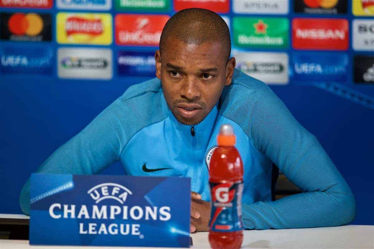 MANCHESTER, ENGLAND - Monday, April 9, 2018: Manchester City's Fernando Luiz Roza 'Fernandinho' during a press conference at the City Football Academy ahead of the UEFA Champions League Quarter-Final 2nd Leg match between Manchester City FC and Liverpool FC. (Pic by David Rawcliffe/Propaganda)