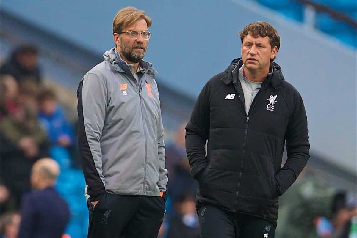 MANCHESTER, ENGLAND - Tuesday, April 10, 2018: Liverpool's manager Jürgen Klopp and first team coach Peter Krawietz during the pre-match warm-up before the UEFA Champions League Quarter-Final 2nd Leg match between Manchester City FC and Liverpool FC at the City of Manchester Stadium. (Pic by David Rawcliffe/Propaganda)