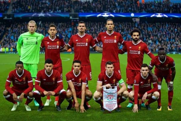 MANCHESTER, ENGLAND - Tuesday, April 10, 2018: Liverpool's players line-up for a team group photograph before the UEFA Champions League Quarter-Final 2nd Leg match between Manchester City FC and Liverpool FC at the City of Manchester Stadium. Back row L-R: goalkeeper Loris Karius, Roberto Firmino, Dejan Lovren, Virgil van Dijk, Mohamed Salah, Sadio Mane. Front row L-R: Georginio Wijnaldum, Alex Oxlade-Chamberlain, Trent Alexander-Arnold, James Milner, Andy Robertson. (Pic by David Rawcliffe/Propaganda)