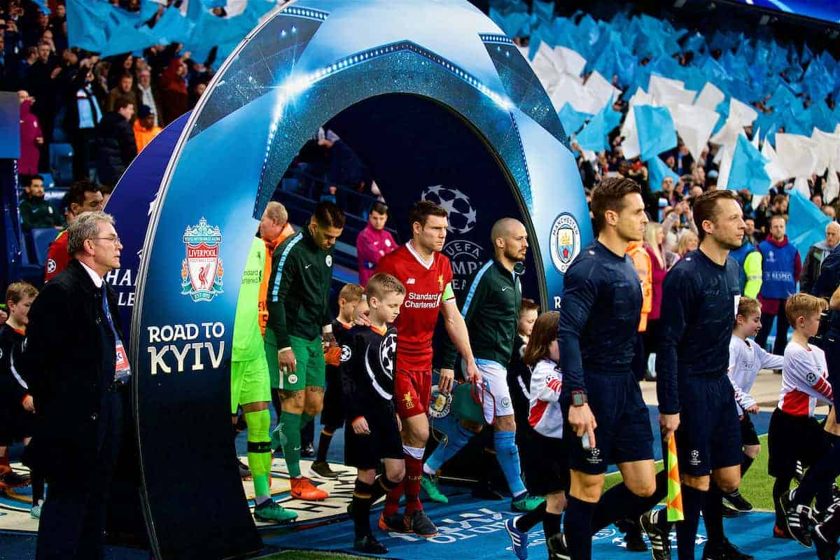 MANCHESTER, ENGLAND - Tuesday, April 10, 2018: Liverpool's James Milner walks out before the UEFA Champions League Quarter-Final 2nd Leg match between Manchester City FC and Liverpool FC at the City of Manchester Stadium. (Pic by David Rawcliffe/Propaganda)