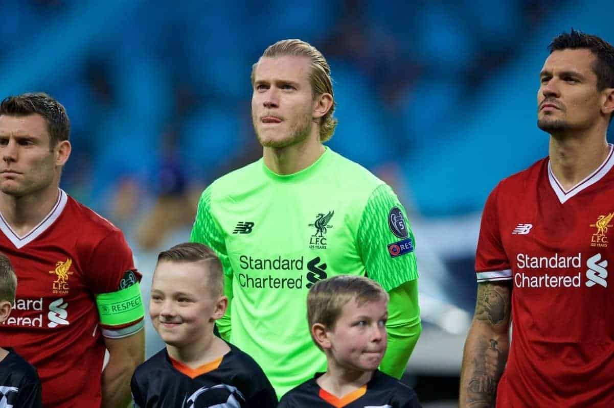 MANCHESTER, ENGLAND - Tuesday, April 10, 2018: Liverpool's goalkeeper Loris Karius before the UEFA Champions League Quarter-Final 2nd Leg match between Manchester City FC and Liverpool FC at the City of Manchester Stadium. (Pic by David Rawcliffe/Propaganda)