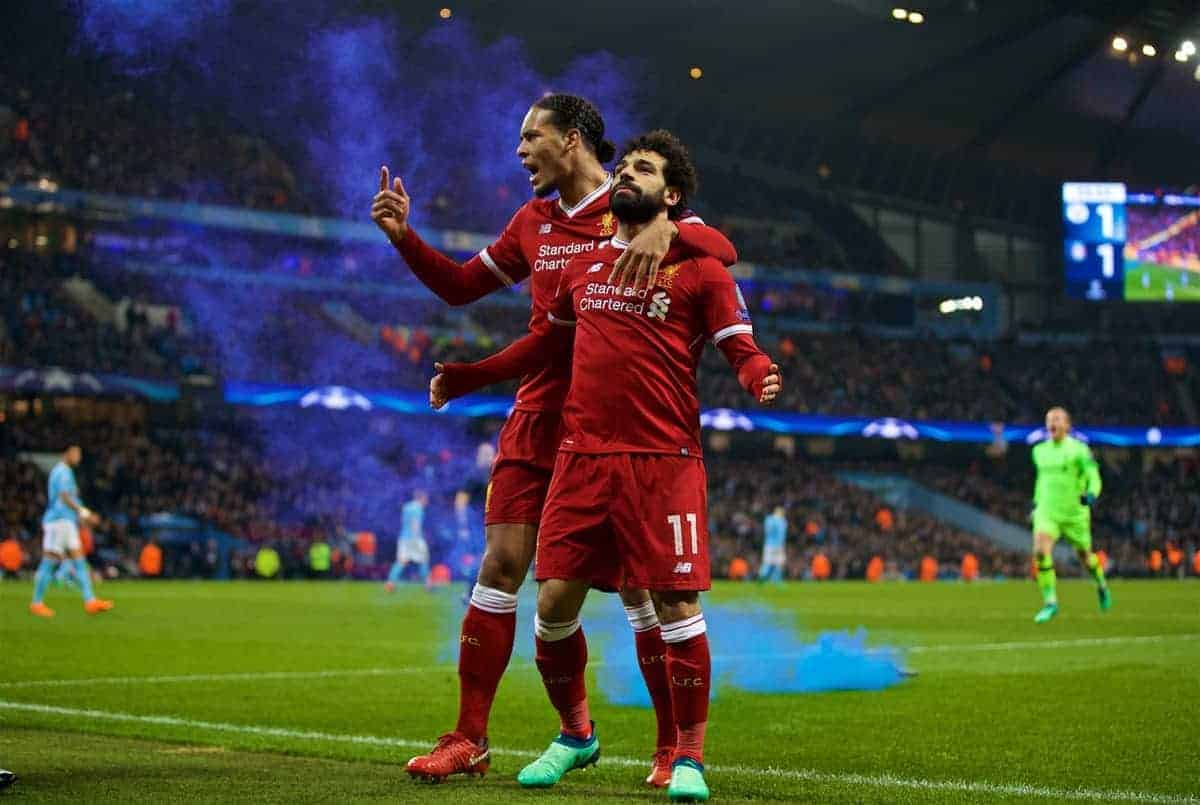 MANCHESTER, ENGLAND - Tuesday, April 10, 2018: Liverpool's Mohamed Salah celebrates scoring the first goal to equalise and make the score 1-1 with team-mate Virgil van Dijk during the UEFA Champions League Quarter-Final 2nd Leg match between Manchester City FC and Liverpool FC at the City of Manchester Stadium. (Pic by David Rawcliffe/Propaganda)