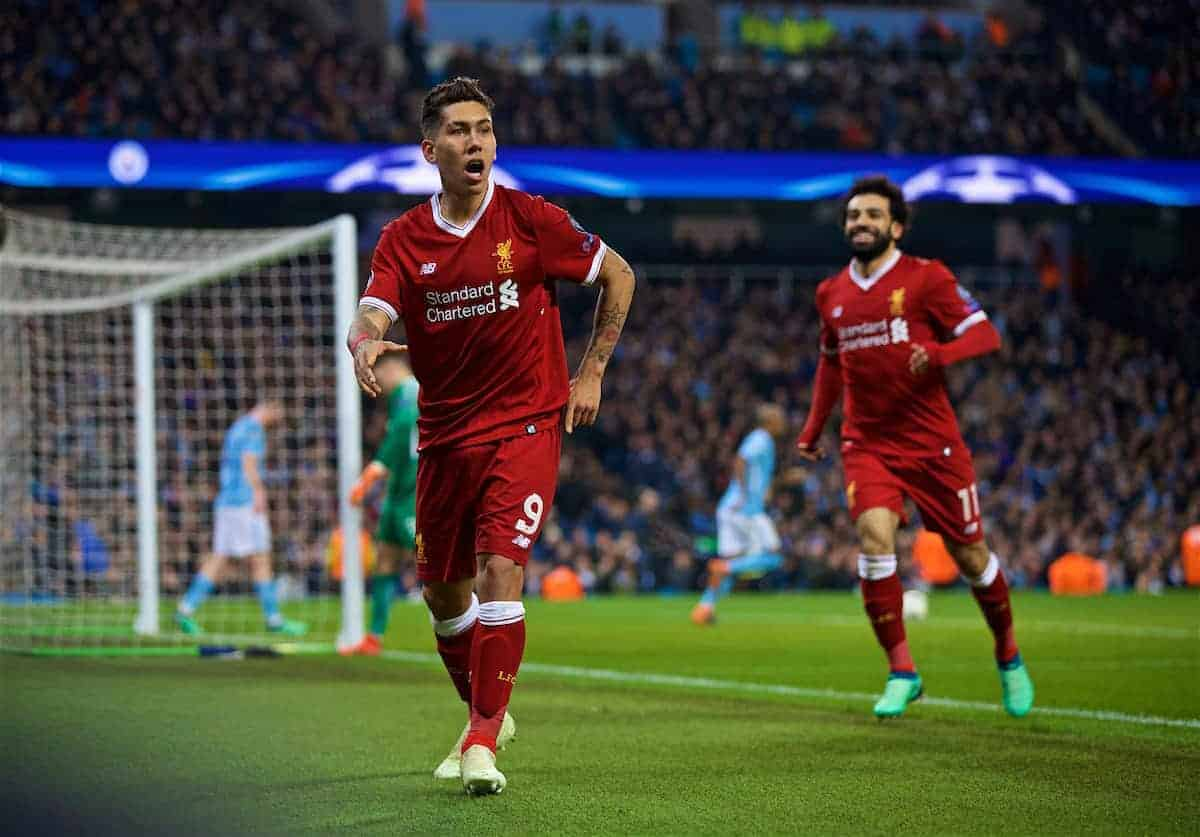 MANCHESTER, ENGLAND - Tuesday, April 10, 2018: Liverpool's Roberto Firmino celebrates scoring the second goal during the UEFA Champions League Quarter-Final 2nd Leg match between Manchester City FC and Liverpool FC at the City of Manchester Stadium. (Pic by David Rawcliffe/Propaganda)