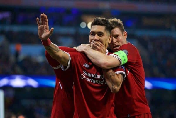 MANCHESTER, ENGLAND - Tuesday, April 10, 2018: Liverpool's Roberto Firmino (centre) celebrates scoring the second goal with team-mate James Milner (right) during the UEFA Champions League Quarter-Final 2nd Leg match between Manchester City FC and Liverpool FC at the City of Manchester Stadium. (Pic by David Rawcliffe/Propaganda)