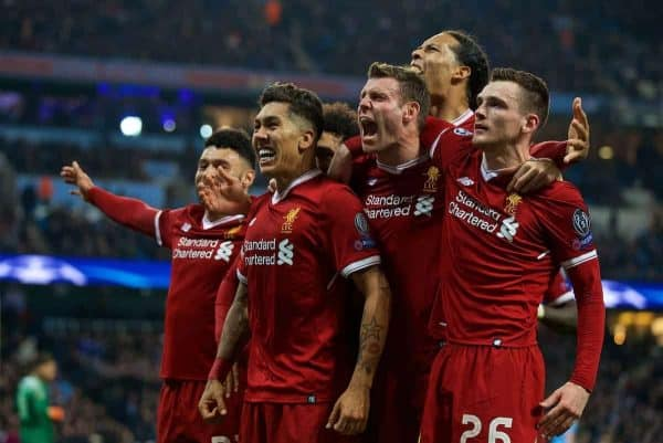 MANCHESTER, ENGLAND - Tuesday, April 10, 2018: Liverpool's Roberto Firmino (2nd left) celebrates scoring the second goal with team-mate sduring the UEFA Champions League Quarter-Final 2nd Leg match between Manchester City FC and Liverpool FC at the City of Manchester Stadium. (Pic by David Rawcliffe/Propaganda)