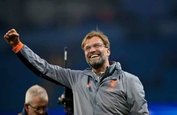 MANCHESTER, ENGLAND - Tuesday, April 10, 2018: Liverpool's manager Jürgen Klopp celebrates after the 2-1 (5-1 aggregate) victory over Manchester City during the UEFA Champions League Quarter-Final 2nd Leg match between Manchester City FC and Liverpool FC at the City of Manchester Stadium. (Pic by David Rawcliffe/Propaganda)