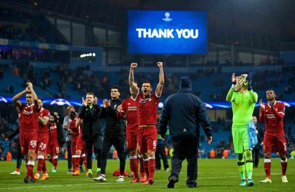 MANCHESTER, ENGLAND - Tuesday, April 10, 2018: Liverpool's Dejan Lovren (centre) celebrates after the 2-1 (5-1 aggregate) victory over Manchester City during the UEFA Champions League Quarter-Final 2nd Leg match between Manchester City FC and Liverpool FC at the City of Manchester Stadium. (Pic by David Rawcliffe/Propaganda)