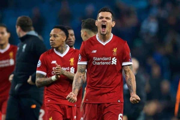 MANCHESTER, ENGLAND - Tuesday, April 10, 2018: Liverpool's Dejan Lovren celebrates after the 2-1 (5-1 aggregate) victory over Manchester City during the UEFA Champions League Quarter-Final 2nd Leg match between Manchester City FC and Liverpool FC at the City of Manchester Stadium. (Pic by David Rawcliffe/Propaganda)