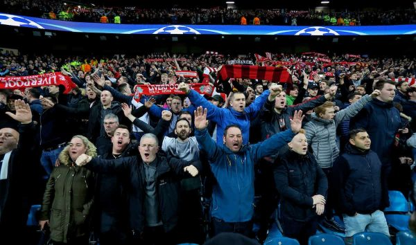 MANCHESTER, ENGLAND - Tuesday, April 10, 2018: Liverpool supporters celebrates after the 2-1 (5-1 aggregate) victory over Manchester City during the UEFA Champions League Quarter-Final 2nd Leg match between Manchester City FC and Liverpool FC at the City of Manchester Stadium. (Pic by David Rawcliffe/Propaganda)